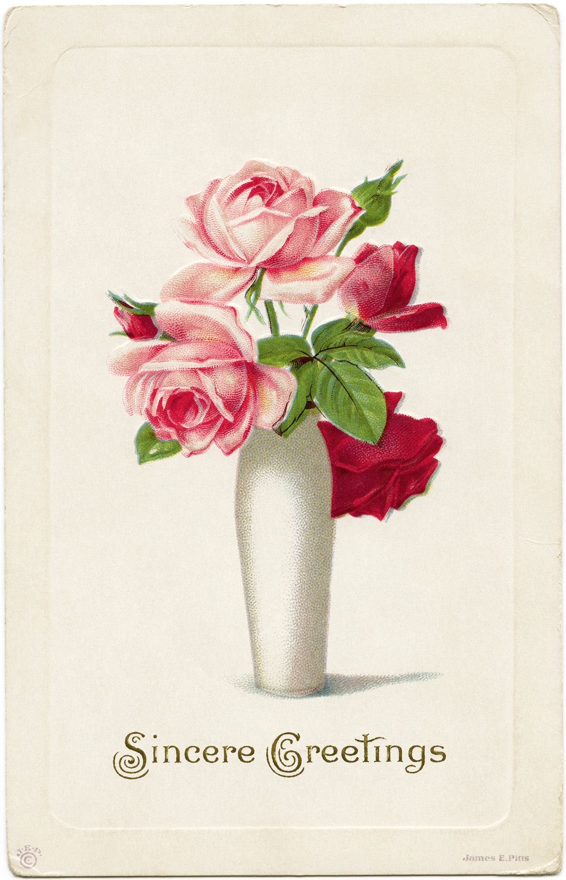 vintage roses clipart, roses in vase printable, old postcard flowers, digital floral graphics, red pink rose image