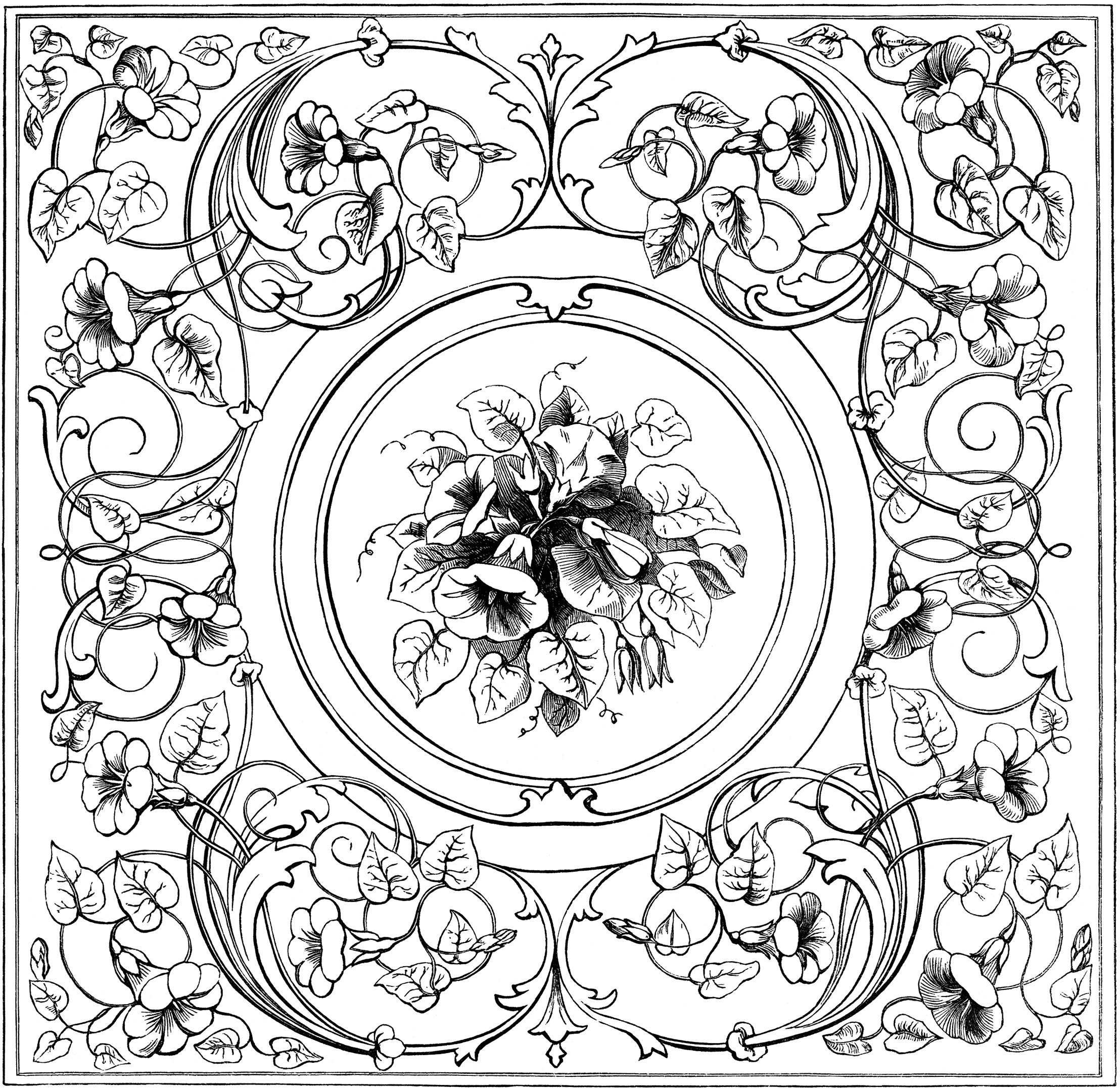black and white clip art, ornate swirl design, ornamental floral sketch, old fashioned embroidery pattern, vintage fancy frame