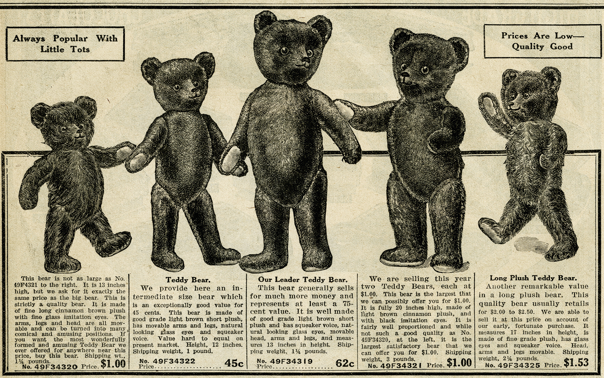 vintage teddy bears free catalogue ad and clip art old. Black Bedroom Furniture Sets. Home Design Ideas
