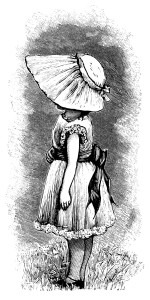 Victorian girl, vintage sunbonnet clipart, black and white clip art, Victorian child illustration, girl dress bonnet image