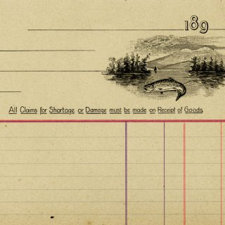 Free vintage clip art ledger account page with fish illustration