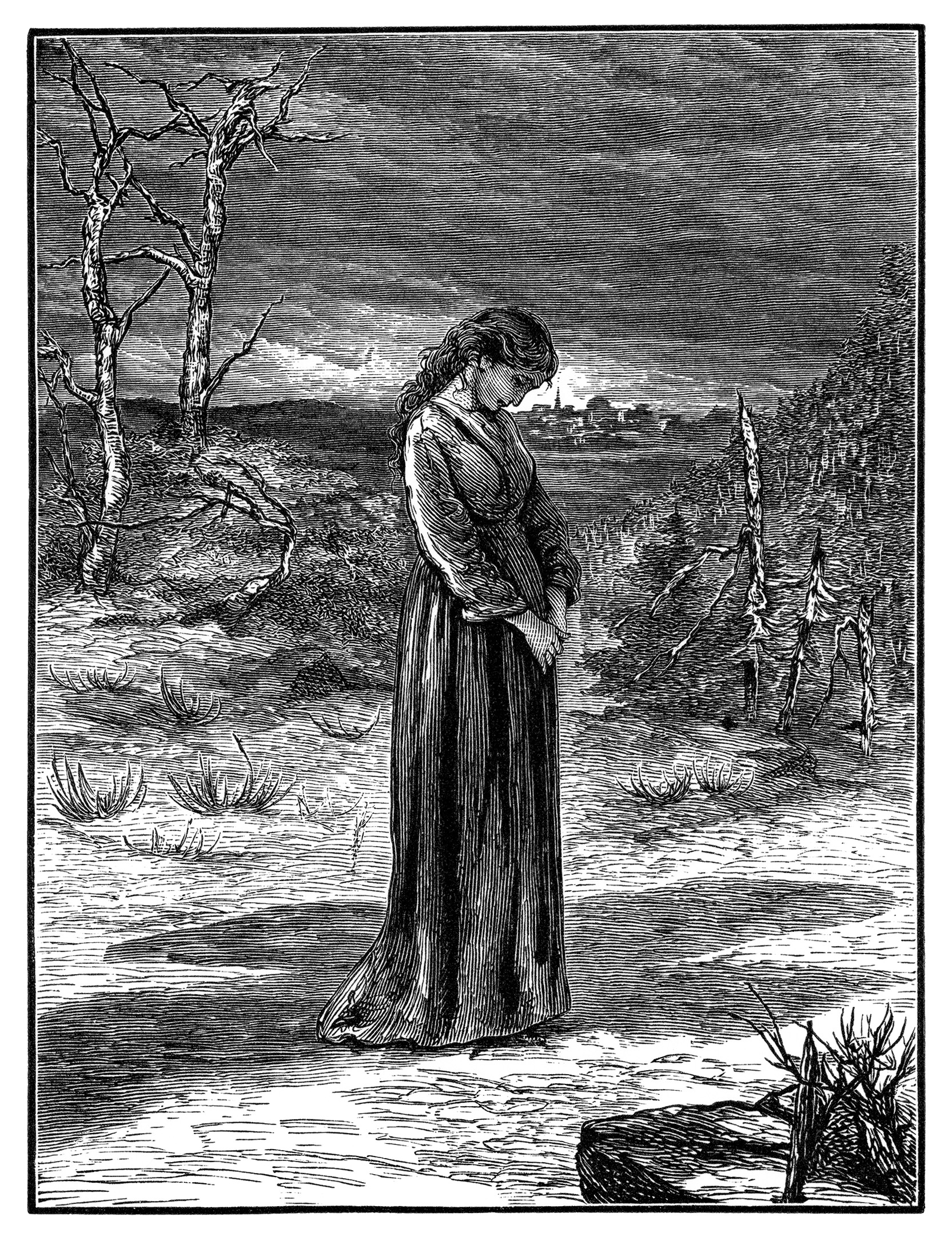 nearer my God to thee, vintage clip art religious, woman bowing head, humble woman clipart, black and white graphics