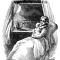Victorian mother and baby, vintage baby clipart, old book page, lullaby poem, black and white graphics