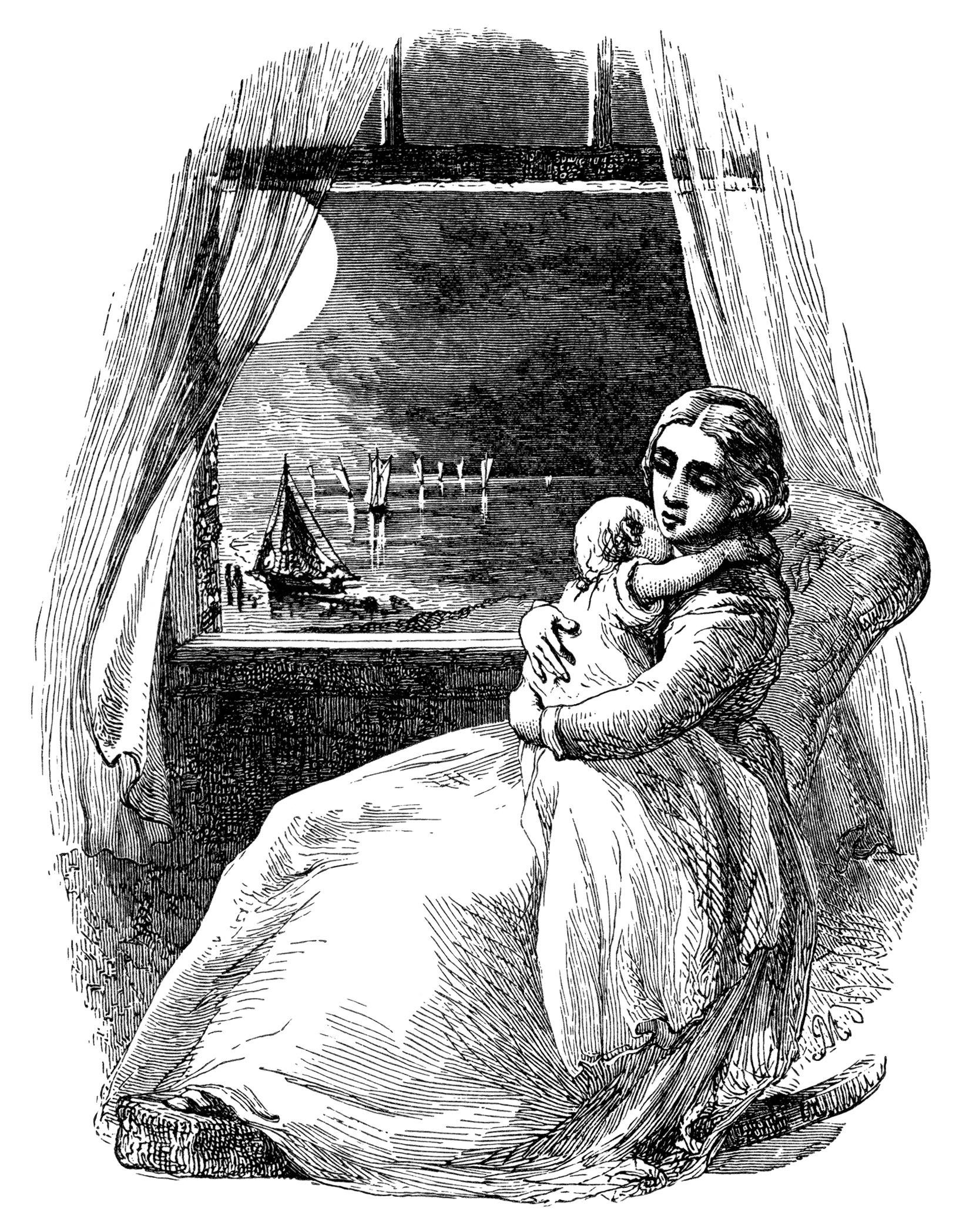 Victorian Mother And Baby Vintage Clipart Old Book Page Lullaby Poem