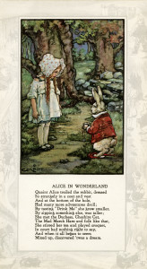 Alice in Wonderland printable, vintage storybook illustration, alice and the rabbit, vintage fairy tale graphics, alice in wonderland poem, alice in the forest