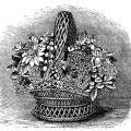 basket of shell flowers, vintage clipart flowers, black and white clip art, floral arrangement in basket, cassells vintage engraving flowers