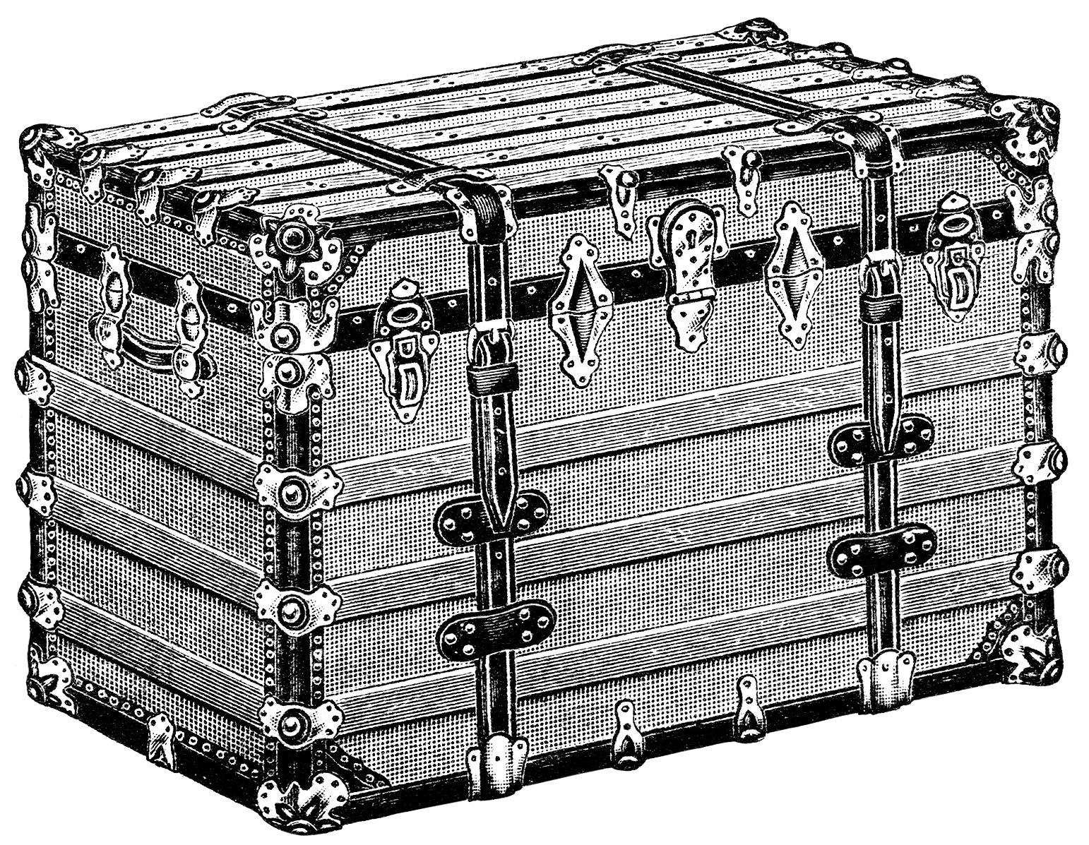 vintage trunk clipart, antique trunk illustration, battleship trunk image, black and white clip art free, vintage catalog ad