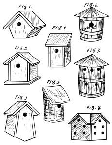 vintage bird house clipart, bird house diagram, birdhouse sketch, black and white clip art, free vintage bird graphics