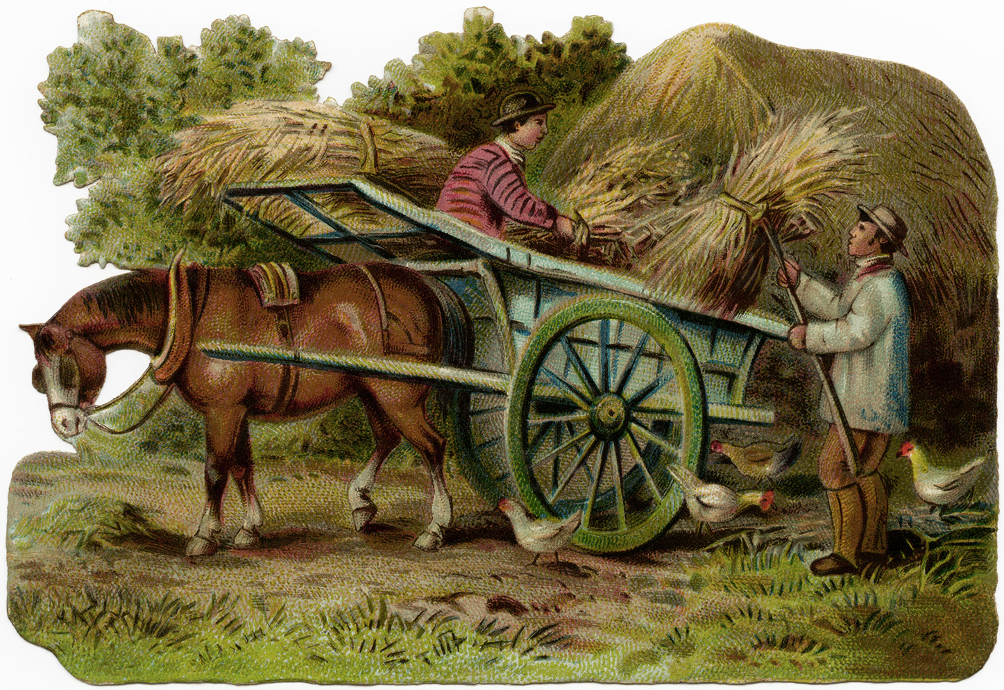 Victorian farm scene, vintage farm clip art, horse drawn wagon clipart, old fashioned farmer, farmers loading hay illustration