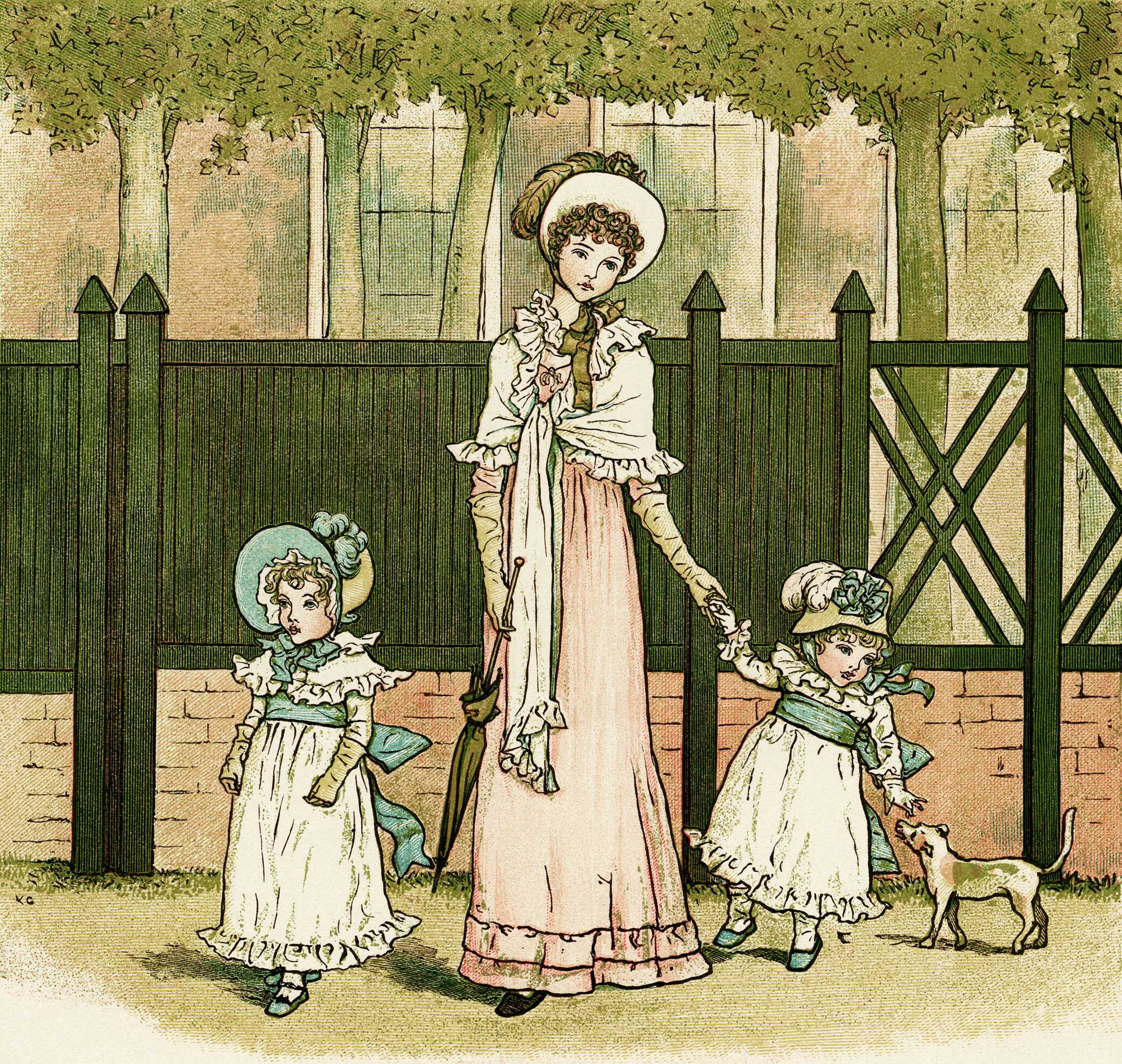 Kate Greenaway, Marigold Garden, Victorian storybook illustration, Going to see Grandma, vintage mother and children picture