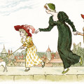 Kate Greenaway, Marigold Garden, Victorian storybook image, on the wall top, mother and child clip art