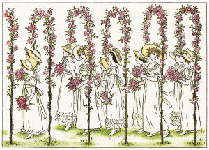 free clipart wedding, Kate Greenaway, Marigold Garden, old fashioned wedding illustration, under rose arches, vintage bridesmaids image, Victorian storybook wedding