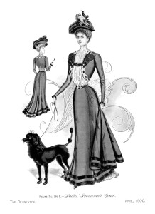 Victorian lady with poodle, victorian fashion plate, woman walking dog illustration, promenade gown vintage clipart, black and white fashion graphics