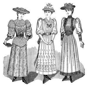 Victorian teen girl clip art, antique misses clothing, black and white clipart, Edwardian dress image, vintage fashion illustration
