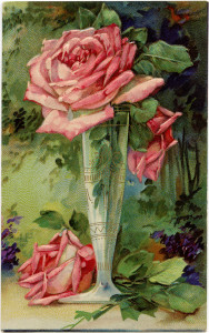 Free vintage clip art pink rose in vase postcard