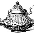 Victorian tea pot, vintage teapot clip art, black and white illustration, antique tea pot printable, tea party graphics