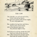 Louis Stevenson, cow poem, vintage cow clip art, farm boy image, black and white clipart child