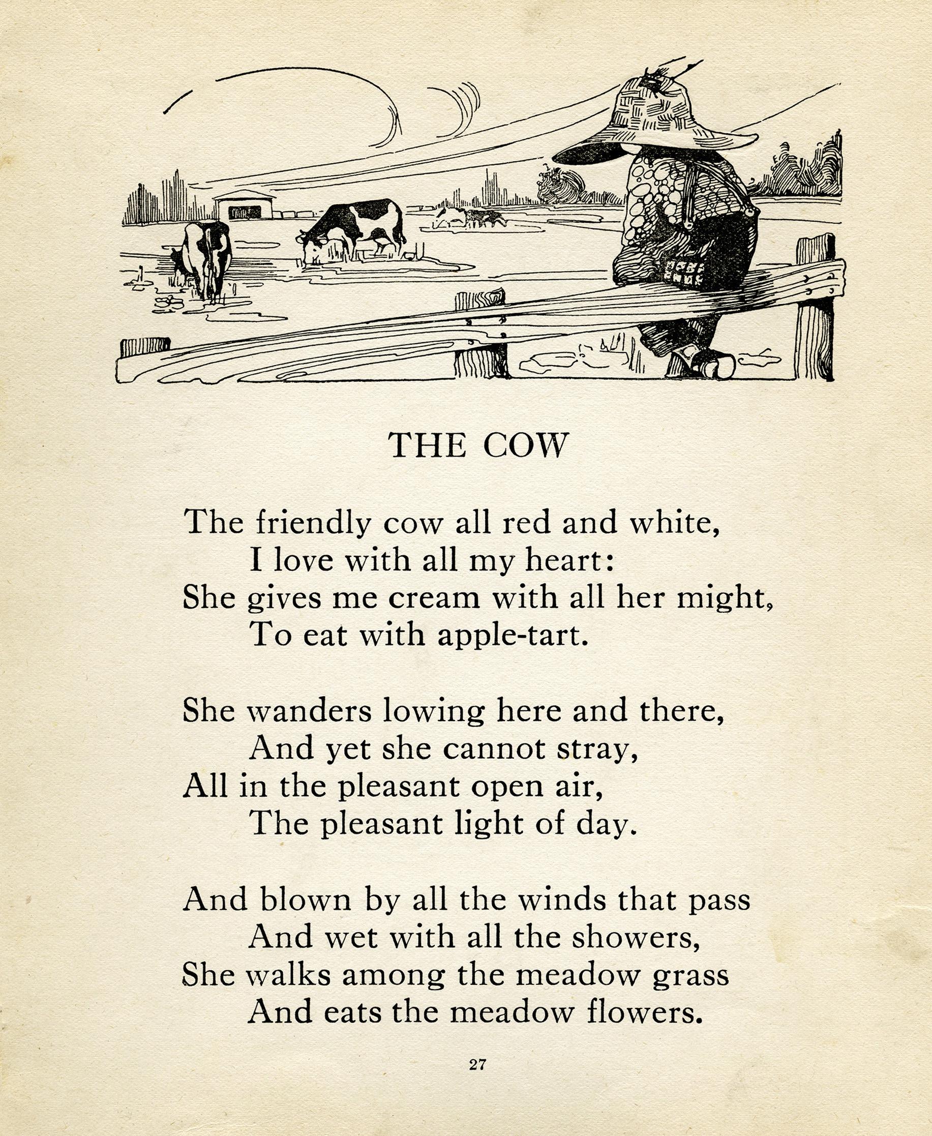 Louis Stevenson, cow poem, vintage cow clip art, farm boy image, black and white clipart child