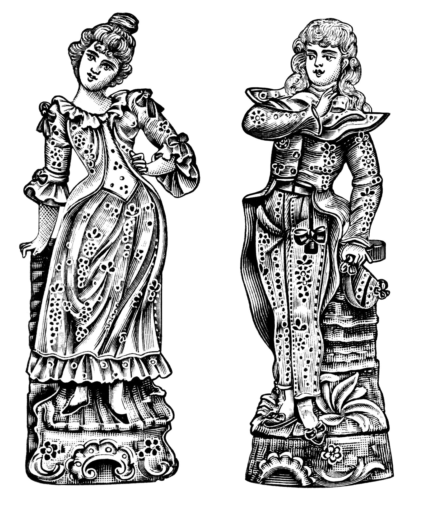 Victorian clip art, antique bisque figure, black and white graphics free, vintage man and woman clip art, Victorian couple illustration