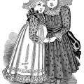 Victorian girl clip art, black and white clipart, vintage fashion illustration, vintage children printable, Edwardian girls fashion