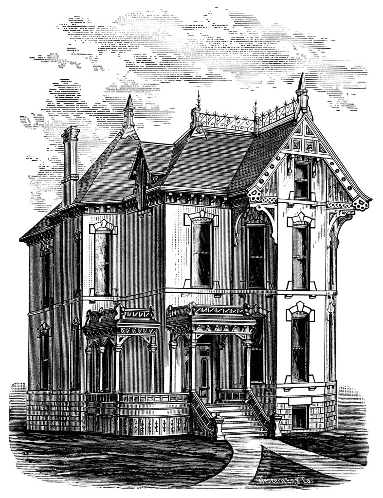 Mansion Drawing: Elegant Victorian Spooky House