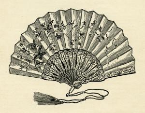 Victorian ladies fan, vintage ladies fan clipart, black and white graphics free, antique hand held fan, fan illustration for woman