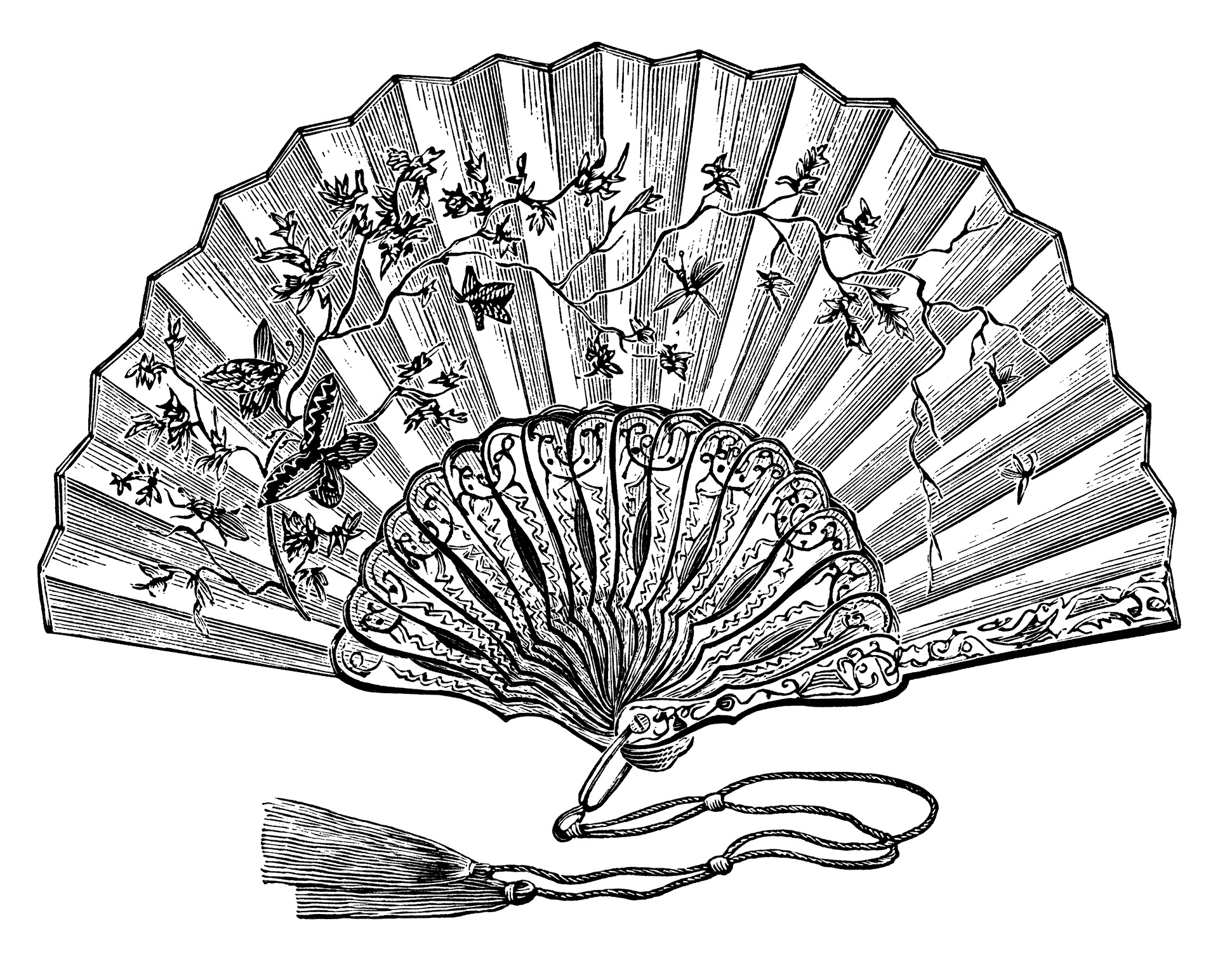 Victorian ladies fan, vintage ladies fan clipart, black and white graphics free, antique hand held fan, fan illustration for woman