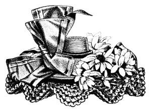 vintage hat clip art, Victorian ladies hat, antique hat illustration, black and white graphics free, summer fashion for women 1898
