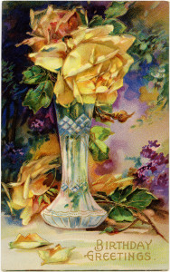 Free vintage clip art birthday postcard yellow rose in vase