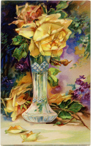 Free vintage clip art postcard yellow rose in vase