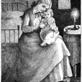This vintage engraving features a young mother holding her baby on her lap. It appears that the baby is ready for bed and saying goodnight prayers. The image is titled Young Motherhood.