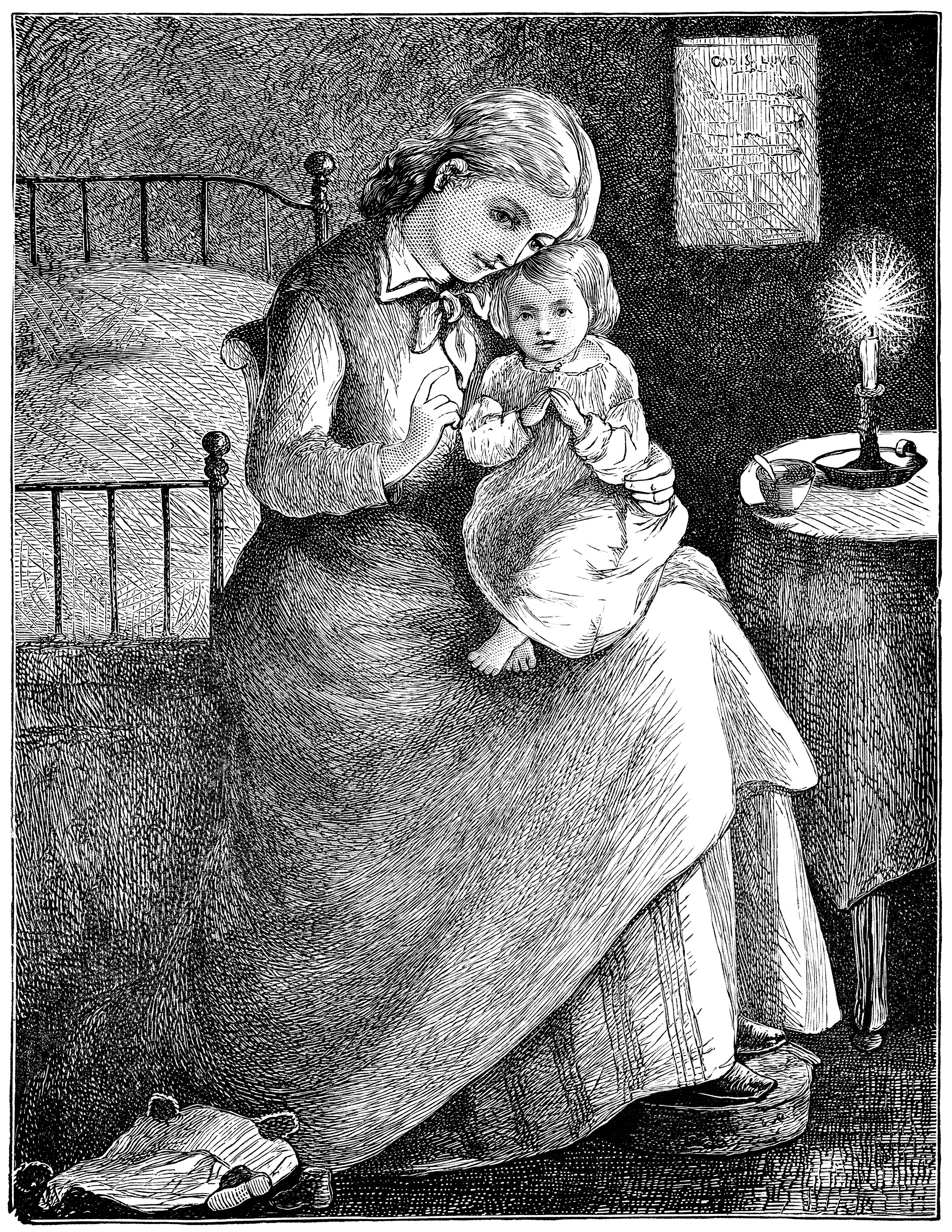 Mother and Baby Bedtime Prayers ~ Free Vintage Image