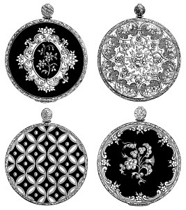 Victorian watch back, design medallion, ornamental design graphic, black and white clip art, vintage decorative round medallion