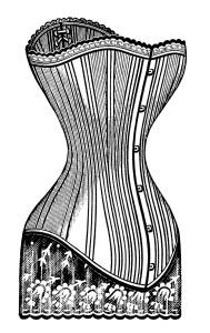Victorian corset clip art, black and white graphics, steampunk corset image, Edwardian fashion illustration, vintage corset