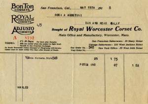 old invoice digital download, royal worcester corset co, Victorian corset paper, vintage ephemera free, vintage receipt