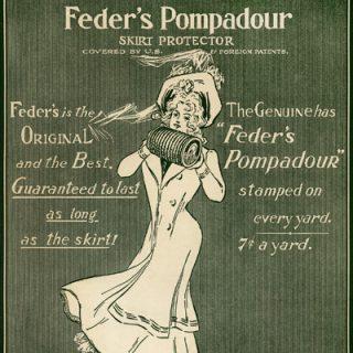 free vintage clip art advertisement Feder's Pompadour Victorian lady