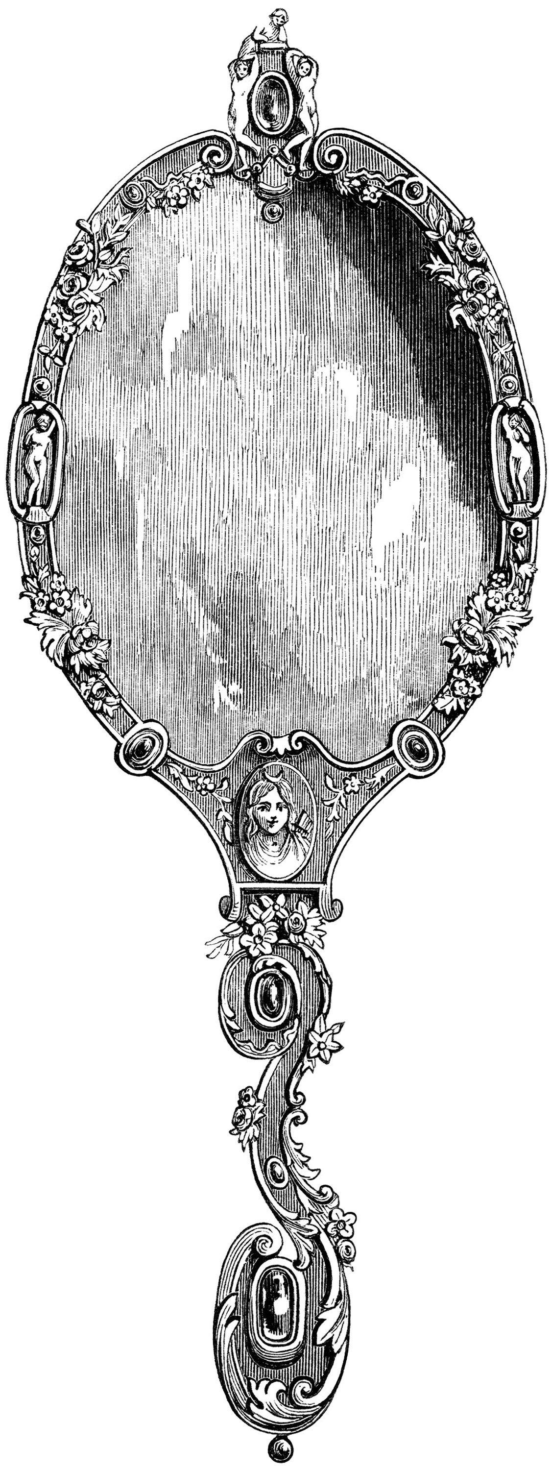 vintage hand held mirror, fairy tale mirror, black and white clip art, fairy tale clip art, old fashioned mirror