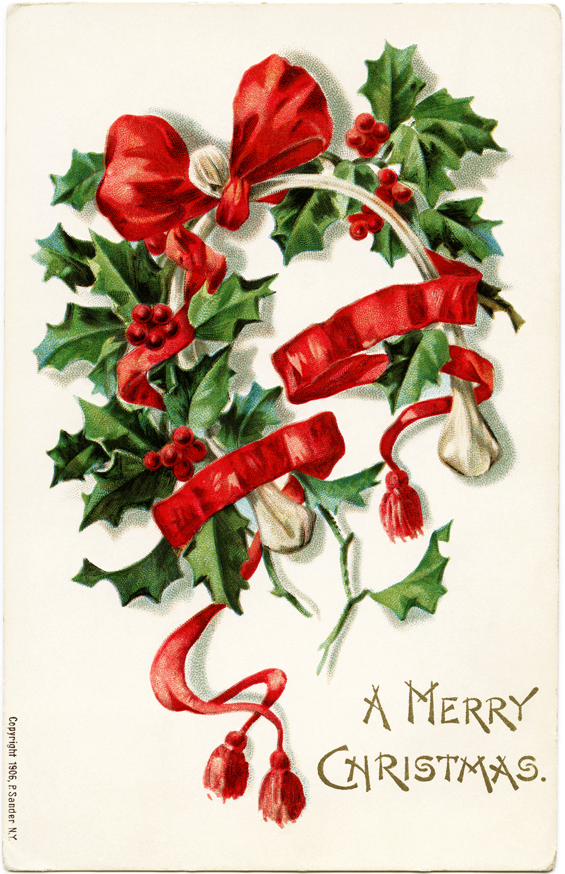 antique horseshoe card, printable Christmas graphic, old Christmas postcard, wishbone holly berries image, free vintage Christmas clipart