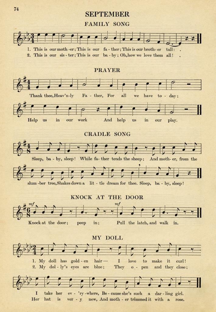 Kindergarten Songs For Sept Free Vintage Graphic Old