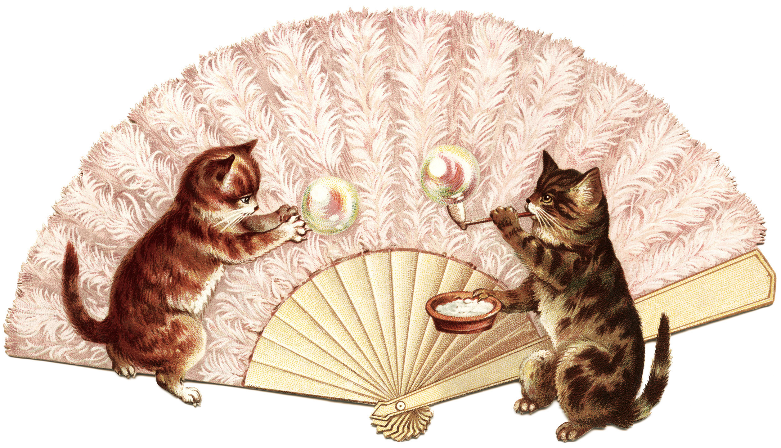 Victorian clip art, cat blowing bubbles, kitten bubble clipart, vintage kittens at play illustration, whimisical animal graphics, vintage cat image