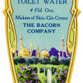 vintage perfume label, bacorns toilet water, vintage beauty clip art, Victorian perfume graphic, heliotrope toilet water