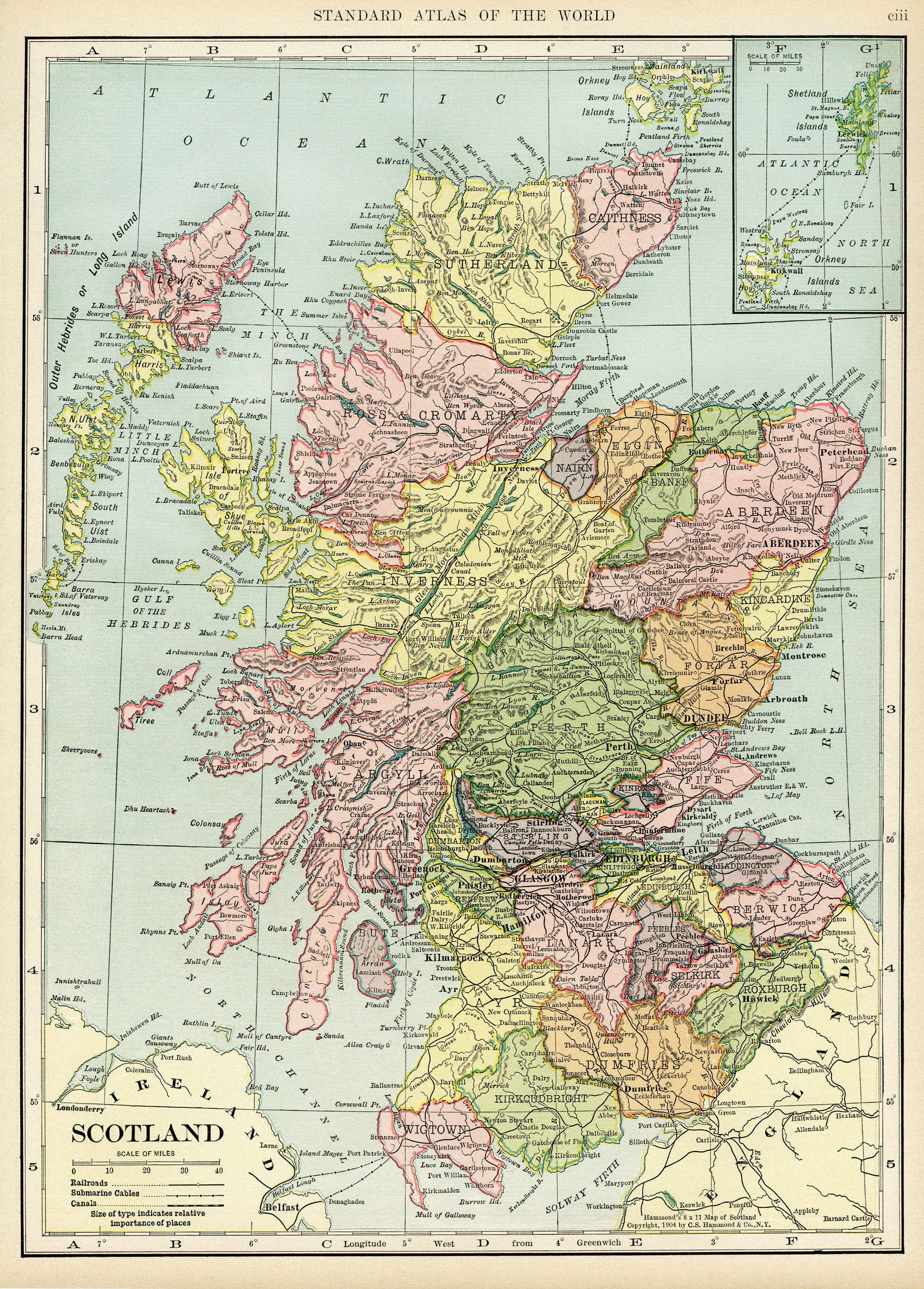 Map of Scotland ~ Free Vintage Image - Old Design Shop Blog