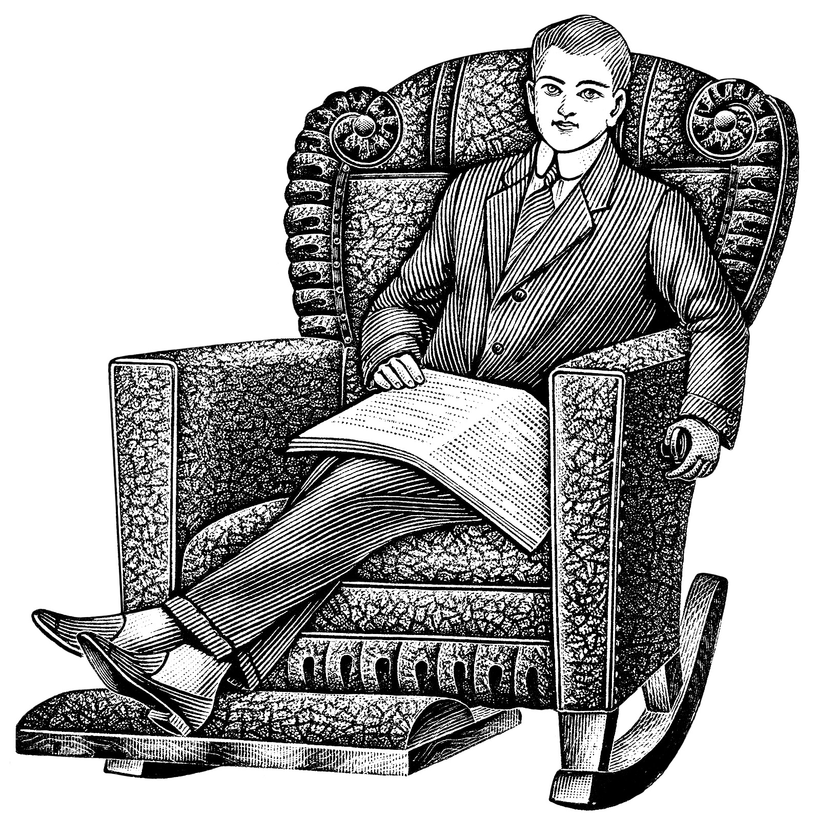 black and white clipart, old catalogue listing, vintage recliner chair, young man sitting in chair clip art, vintage chair illustration, morris rocker ad