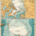 North and South Polar regions, vintage map download, antique map, C. S. Hammond, north pole map, south pole map
