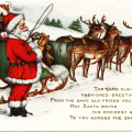 Victorian Christmas postcard, vintage santa clip art, old fashioned Christmas card, santa sleigh reindeer illustration, whitney made Christmas postcard