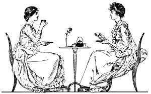 Victorian tea time, ladies drinking tea, black and white clip art, vintage tea party clipart, old book page, Victorian wedding customs