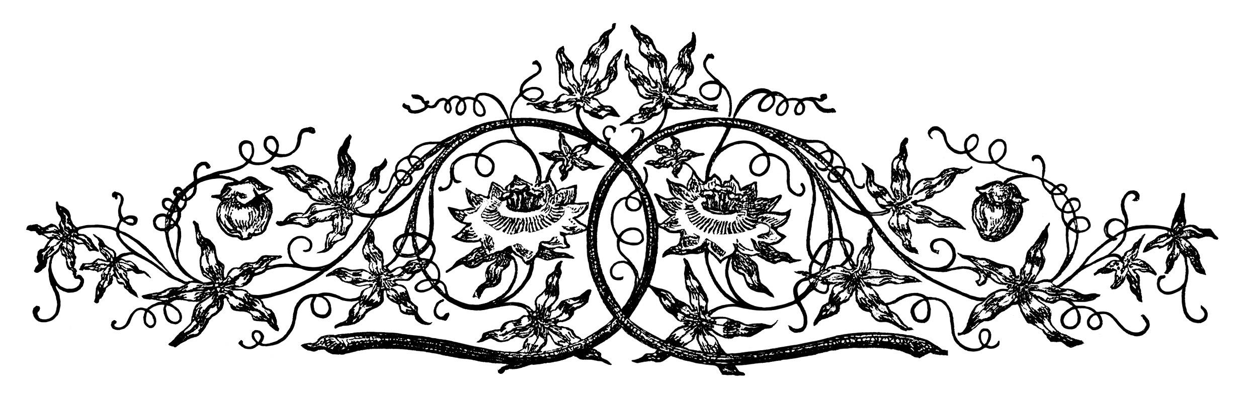 Ornamental swirl design free vintage clip art old design shop blog - Design black and white ...