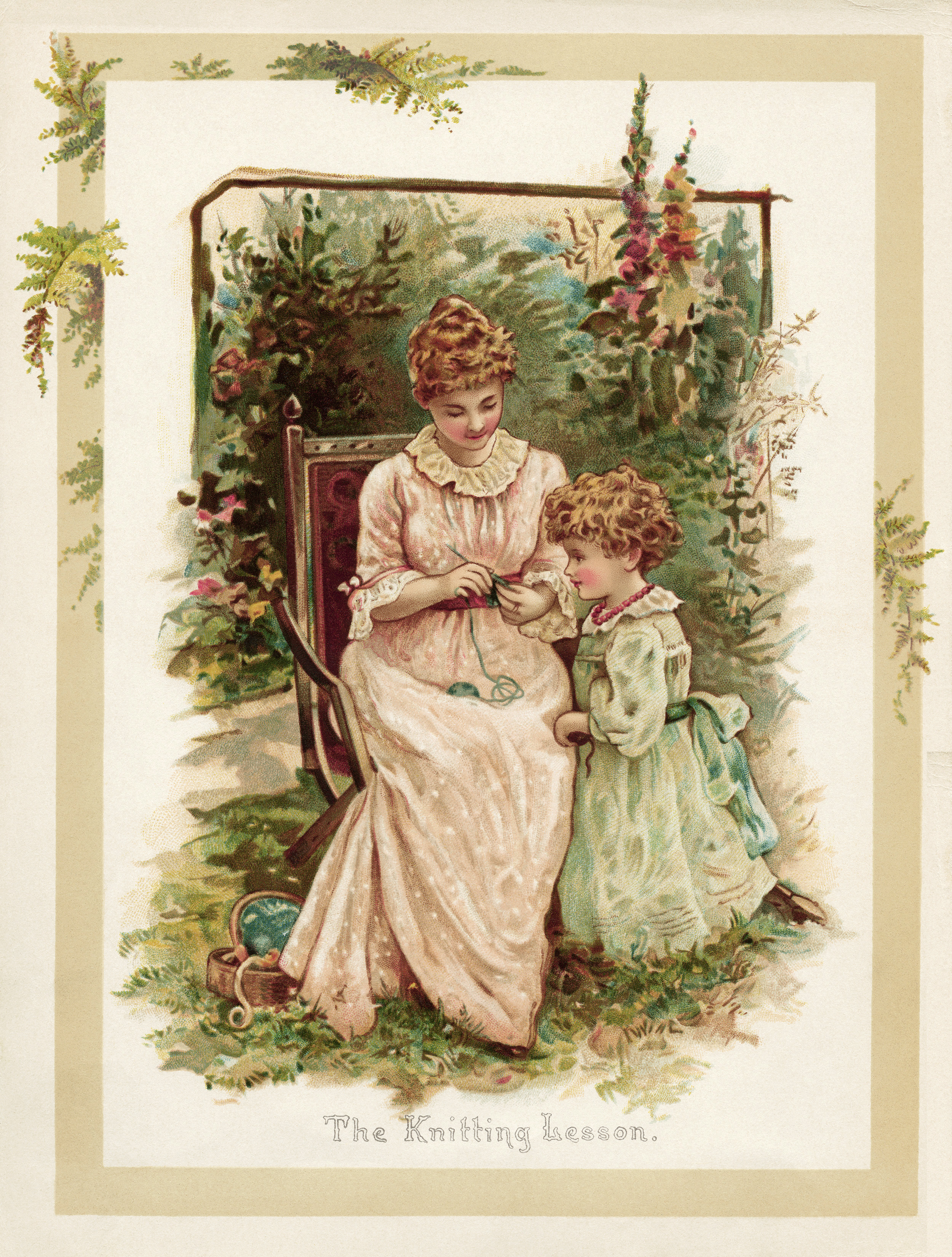 vintage storybook illustration, the knitting lesson, Victorian mother and child, knitting outdoors image, sunbeams and me, vintage mom and daughter printable