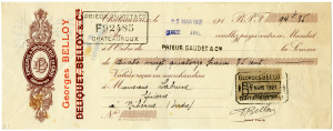 Free vintage clip art French cheque Georges Belloy