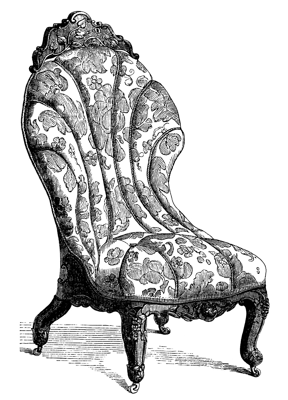 Victorian Furniture Clip Art Vintage Couch Set Living Room Sofa Engraving Antique Chair